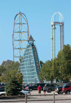 Blue Streak, Top Thrill Dragster & Power Tower at Cedar Point - Sandusky, Ohio.