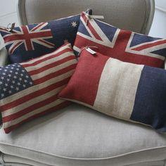 French, US, Britain & Australian Flag pillows