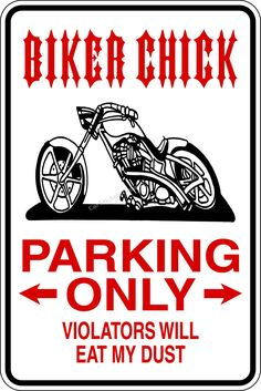 biker chick cartoon | Biker Chick Parking Only Sign @ Car Stickers Decals