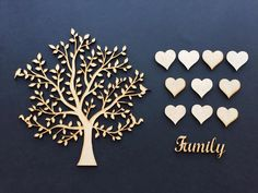 Laser cut MDF Family Trees and Hearts