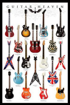 Guitar Heaven Chart of Famous Guitars Music Poster Print