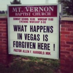 45 Church Signs - What happens in Vegas is forgiven here!