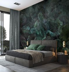 Nymphea - Customized Unique Wallpaper, Removable, Washable and Reusable Luxury Bedroom Design, Home Room Design, Modern Bedroom, Master Bedroom, Bedroom Decor, Interior Design, Unique Wallpaper, Luxurious Bedrooms, House Rooms