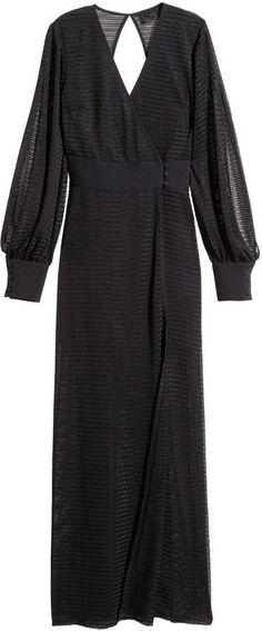 H&M - Wrap-style Maxi Dress - Black - Ladies