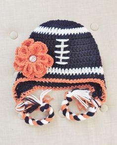 Crochet Football hat Denver Bronco inspired by LuvBeanies on Etsy