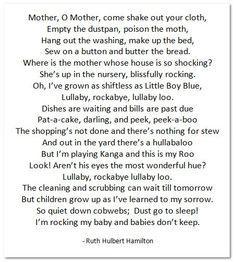 I'm rocking my baby, because babies don't keep.