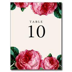 VINTAGE FLORAL DECOUPAGE TABLE NUMBER POST CARDS