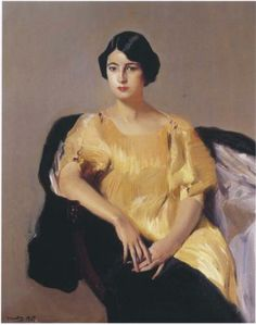 """""""Elena in a Yellow Tunic"""", 1909 -- by Joaquin Sorolla y Bastida (Looks like a Fortuny pleated silk gown) Spanish Painters, Spanish Artists, Belle Epoque, Singer Sargent, Art Database, Portrait Art, Oeuvre D'art, Female Art, Les Oeuvres"""