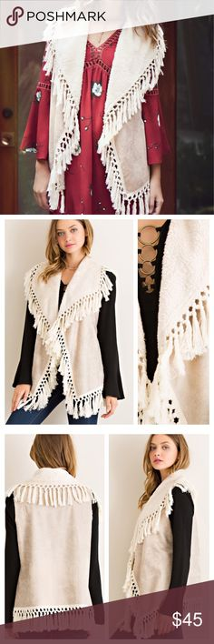 "FRINGED SHEARLING VEST Sleeveless shearling vest will be a favorite this season. Fringe accented throughout, shawl collar. 100% polyester. ACTUAL COLOR 4th pic. FRINGE NATURAL                                                         ♦️S: bust open 46""  closed 42""   length 29""               ♦️M: bust open 48"" closed 44""  length 29.5""            ♦️L: bust open 50"" closed 46""  length 30"" tla2 Jackets & Coats Vests"