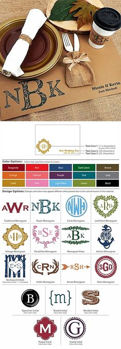 Monogrammed Kraft-Paper Placemats (17 Designs)
