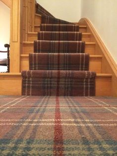 Best Carpet Runners For Stairs Key: 4737674050 Tartan Stair Carpet, Carpet Staircase, Hall Carpet, Staircase Runner, Stair Runners, Hallway Colours, Pub Interior, Interior Design, Pub Decor