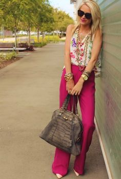 hot pink wide leg pants and pointy pumps