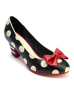 Another great find on #zulily! Black & White Polka Dot Elsie Bow Leather Pump #zulilyfinds