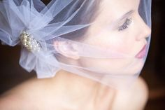 Wedding Bandeau Veil with side Poof Pearl by FascinatingCreations on etsy