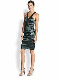 Nicole Miller Sleeveless Racerback Ruched Dress