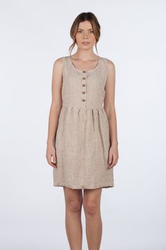 MODEL No. 25Sleeveless Linen dress in a knee length, fully functioning wooden ...