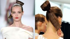 """The Look: Sumo-Knots, Gold Lids, and Red Lips How-To: The inspiration behind the glamorous and gravity-defying hair at Carolina Herrera came from an unlikely source: Japanese sumo wrestlers. """"It's a sleek, sculptural style I call the sumo-knot,"""" said hairstylist Orlando Pita. He began by pulling straightened hair into a tight ponytail and folding it in half to form an off-center looped bun. Then he pinned a hair extension (which had been sprayed with hairspray, flat-ironed, and cut at a…"""