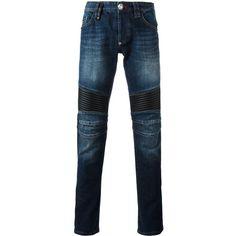 Philipp Plein Raiatea biker jeans ($900) ❤ liked on Polyvore featuring men's fashion, men's clothing, men's jeans, blue, mens slim jeans, mens rock and roll jeans, mens blue jeans, mens slim fit jeans and mens urban jeans