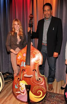 hand painted upright basses designed by Walt Disney Animation artists