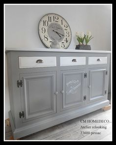 """buffet bahut meuble relooké déco rétro brocante """"st germain"""" ou campagne chic patiné gris et blanc relooking Refurbished Furniture, Furniture Makeover, Furniture Making, Diy Furniture, Dining Room Server, Chalk Paint Furniture, Furniture Restoration, Home Staging, Upholstered Chairs"""