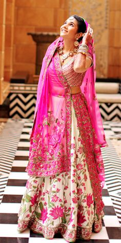 floral and pink Hand embroidery lehenga