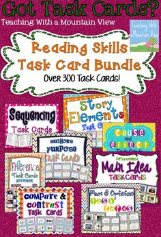 Are you ready to start using task cards in your classroom? Centers, Small Group, and Whole Group Instruction and perfect for DIFFERENTIATION. Over 300 Reading Skills Task Cards! Inference Task Cards, Main Idea Task Cards, Sequencing Task Cards, Cause & Effect Task Cards, Author's Purpose Task Cards, Compare & Contrast Task Cards, Fact & Opinion Task Cards, Story Elements Task Cards. $