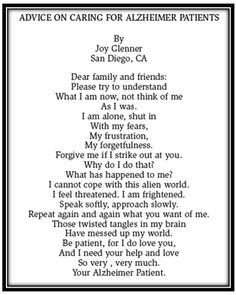 Get Well Poems for Moms who have dimentia | just read this incredible letter written by an Alzheimer's patient ...