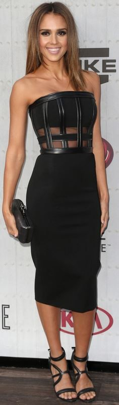 Black strapless dress, clutch handbag