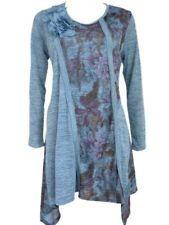 Pretty Angel Floral Tunic Top Long Sleeve Blue Womens M, ik heb nog een blauw vest, leuk idee om te veranderen