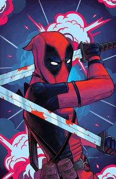 Colored this Deadpool sketch from a while back for fun… About to head out to…