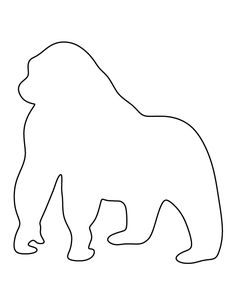 Gorilla pattern. Use the printable outline for crafts, creating stencils, scrapbooking, and more. Free PDF template to download and print at http://patternuniverse.com/download/gorilla-pattern/