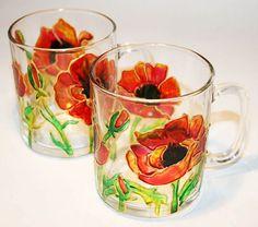 Купить Чашки с маками - мак, маки, цветы, чашка, кружка, стеклянная кружка, краски