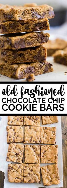 Old Fashioned Chocolate Chip Cookie Bars via @spaceshipslb