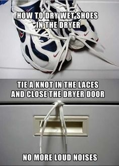 Best. Idea. Ever. Drying shoes in the dryer.