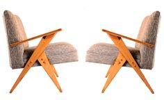 Zanine Caldas, 1960′s    Dimensions  W: 80 / D: 66   H: 80    Material  Pinho do Sul wood with grey cotton upholstery