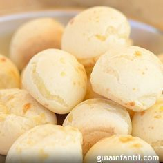 A very yummy recipe for Brazilian cheese bread or Pao De Queijo. This Gluten free snack is delicious. Brazilian Cheese Bread Recipe from Grandmothers Kitchen. Read Recipe by Gluten Free Recipes, Bread Recipes, Snack Recipes, Cooking Recipes, Brazilian Cheese Bread, Cheese Buns, Pan Bread, Snacks, Sin Gluten