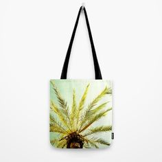 Palm Trees Tote Bag by karidesign Poplin Fabric, Hand Sewn, Palm Trees, Original Artwork, Stress, Reusable Tote Bags, America, Stitch, Sewing