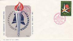 Sobrescrito comemorativo com carimbo comemorativo a vermelho datado de 31/07/1958 alusivo ao XIII Congresso de Bombeiros em Viana do Castelo