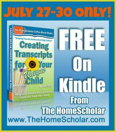 Free July 27-30! I have found all the little books in the Coffee Break series very informative and encouraging for the high school years!