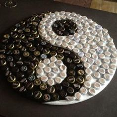 Yin Yang Handmade Bottle Cap Art - one of a kind - water bottle caps and CDs Bottle Top Art, Bottle Top Crafts, Bottle Cap Table, Bottle Cap Projects, Beer Bottle Caps, Beer Caps, Beer Cap Crafts, Cork Crafts, Diy And Crafts