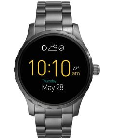 Fossil Men's Digital Q Marshal Smoke-Tone Ion-Plated Stainless Steel Bracelet Smart Watch 45mm FTW2108