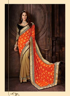 Spread the aura of freshness with this Beige and Deep Orange Jacquard Saree displaying a feel of sensuality. The ethnic Lace & Resham work at the clothing adds a sign of attractiveness statement with your look. Buy Online Exclusive Designer Ethnic Saree, Wedding Wear, Party Wear, Ceremonial Wear, Sarees, Shari, Sari, Indian Saris For women. We have large range of Designer Exclusive Sarees Online in our website with the best pricing and unique designs shipping to World Wide.