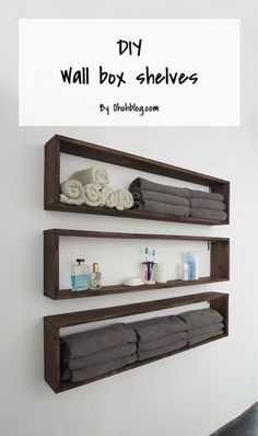 DIY Bathroom Storage Ideas - DIY Wall Box Shelves - Best Solutions for Under Sink Organization, Countertop Jars and Boxes, Counter Caddy With Mason Jars, Over Toilet Ideas and Shelves, Easy Tips and Tricks for Small Spaces To Organize Bath Products Box Shelves, Diy Wall Shelves, Floating Shelves, Wall Bookshelves, Easy Shelves, Bathroom Wall Shelves, Storage Shelves, Small Wall Shelf, Plywood Storage