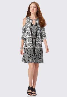 4b35ca0ef1c Cato Fashions Paisley Print A-Line Swing Dress-Plus  CatoFashions Shoulder  Sleeve