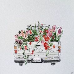 I just have to share this adorable watercolor, by artist /lindsaybrackeen/ of our sweet old farm truck filled with flowers. Hope it brightens your day as much as it did mine! #farmerflorist #dsfloral