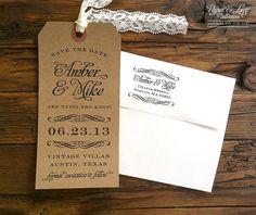 Enregistrer l'étiquette de bagage de Date par paperandlaceaustin, $55.00