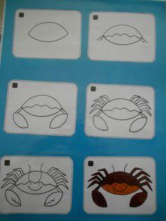 Krab tekenen met stappenplan (A3) *liestr*