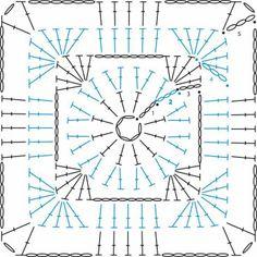 Square Pattern : Granny Square Pattern – Sandra_GirlyCrochet Granny Square Pattern : Granny Square Pattern – Sandra_GirlyCrochet かぎ編み Crochet Japan : 四角モチーフ 8 【かぎ針編み】How t. Motifs Granny Square, Crochet Motifs, Granny Square Crochet Pattern, Crochet Blocks, Crochet Diagram, Crochet Stitches Patterns, Crochet Chart, Crochet Squares, Crochet Granny