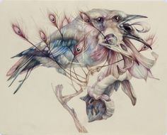 """Marco Mazzoni  """"The Mask""""2012, colored pencils and ink on moleskine paper, cm 21x26"""