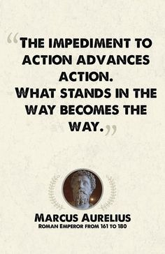 """The impediment to action advances action. What stands in the way becomes the way."" -Marcus Aurelius"